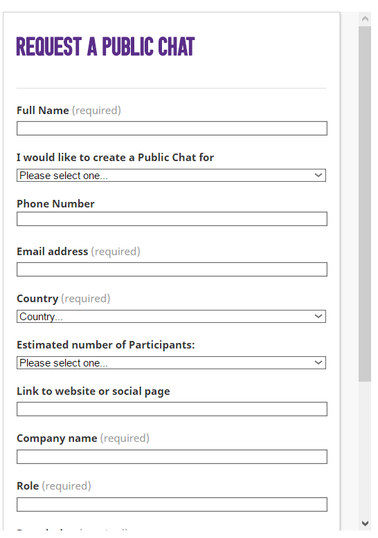 Заполняем анкету Public Chat Viber